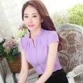 Korean Fashion style Plus Size 4XL Women Blouses 2016 V-neck  Short Sleeve Blouse Solid Slim Women office work wear Shirt Tops