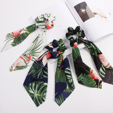 New Floral Print Hair Scrunchie Women Ribbon Tassel Tie Flamingo PonyTail Hairband Rubber Ropes Girls HairTies Accessories