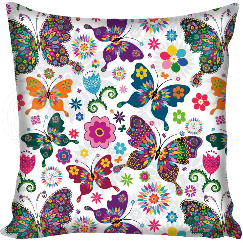 Custom Decorative Pillowcase Butterfly Square Zippered Pillow Cover Print Your Image 20X20cm,35X35cm,40x40cm