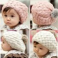 Hot Sell 1 Piece 2016 New Autumn Winter Baby Hat Bonnet Style Kid Crochet Cap Lovely Infant's Headwear