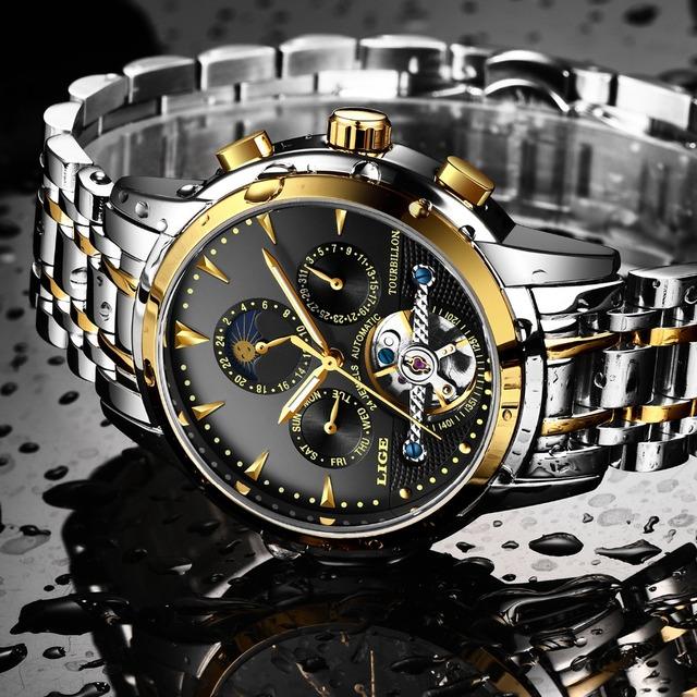 LIGE Men Self-Wind Tourbillon Mechanical Watches Water Resistant Automatic Skeleton Business Wristwatch Man Relojes Hombre 2018