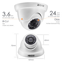 ZOSI 1080P 2MP TVI CCTV System Dome Video Nightvision Monitor Camera BNC Cable for Warehouse Room Window Remote View DVR Kit