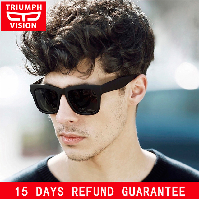 81b3b7a4b73 TRIUMPH VISION Sturdy Arms Polarized Black Sunglasses for Men Square Shades  Male UV400 Polaroid Sun Glasses
