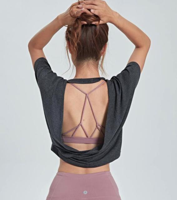 Women's Tank Workout Tops Sports Wear For Women Gym T-shirt Open Back Yoga Top Sport Blouses Woman Fitness Shirt Female Jersey 2