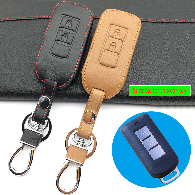 Leather car key cover for Mitsubishi ASX RVR Outlander Lancer 10 Pajero Sport L200 2 buttons Keyboard cover Auto Accessories