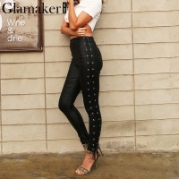 Glamaker Lace Up Black Leather Pants Women Slim Bodycon Skinny Casual Pants Autumn Winter High Wasit