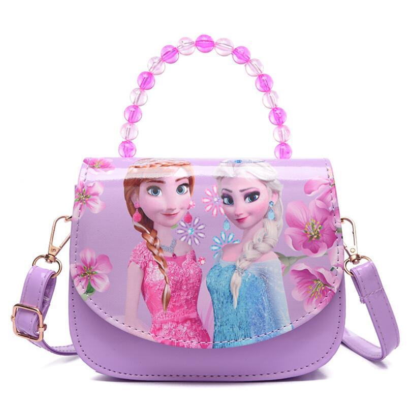 New Children Cartoon Elsa And Anna Bowknot Handbag Girls Cute Shoulder Bag Kids Tote Girls Messenger Bag Princess Mini Bag