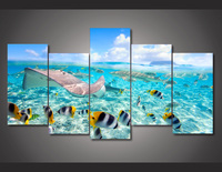 Framed Printed Tropical Fishes Sea Ocean Painting On Canvas Room Decoration Print Poster Picture Free Shipping