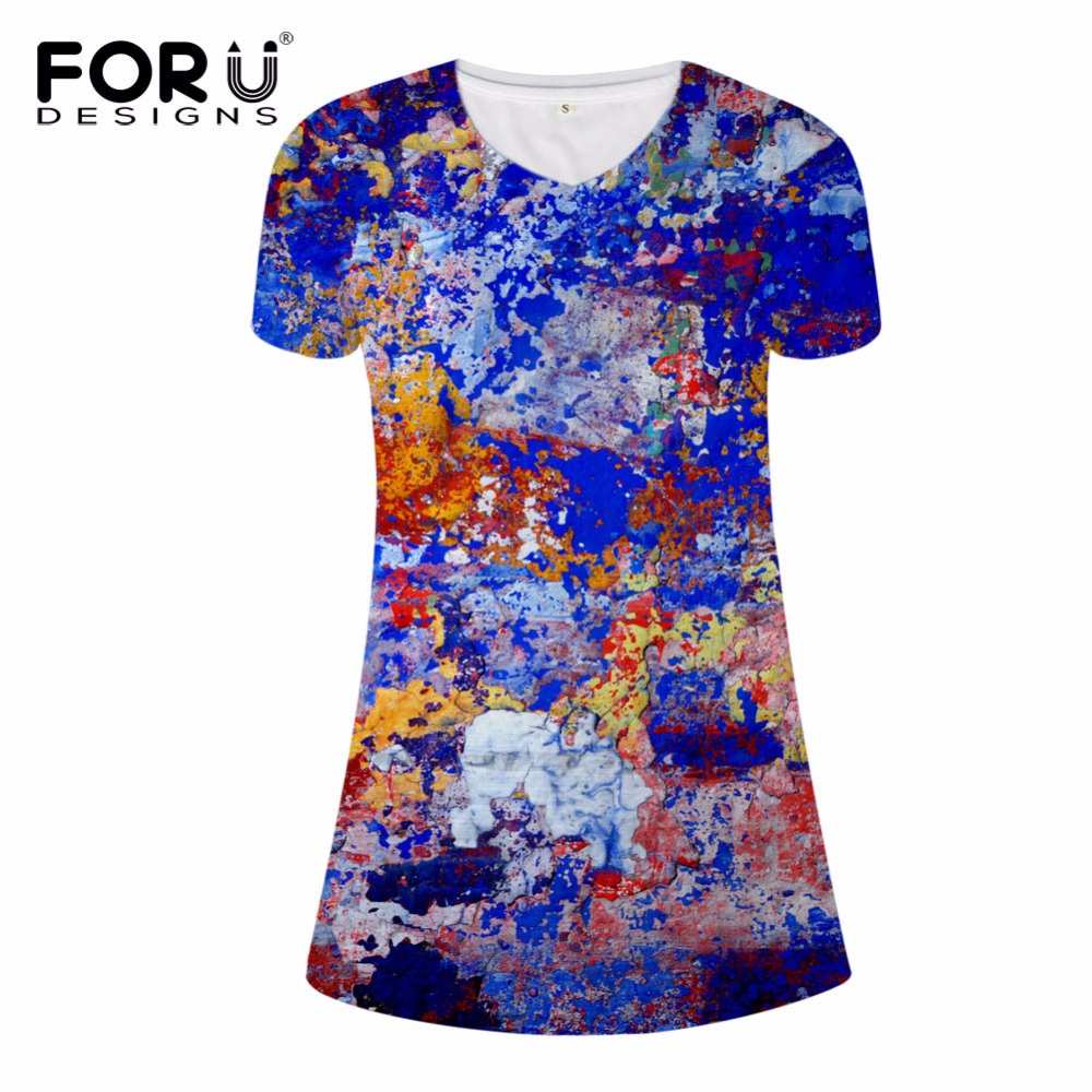 FORUDESIGNS Colorful Oil Painting Dress for Women Elastic Ladies Mini Dresses Supreme Short Sleeve Casual Dress Sexy V Neck Dres in Dresses from Women 39 s Clothing