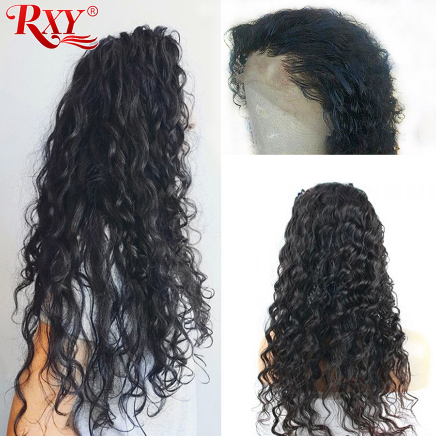 RXY Peruvian Water Wave Wigs Pre Plucked Full Lace Human Hair Wigs With Baby Hair Glueless