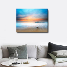 Laeacco Canvas Calligraphy Painting Summer Holiday Sunrise Sea Beach Poster Wall Artwork Picture for Living Room Home Decoration