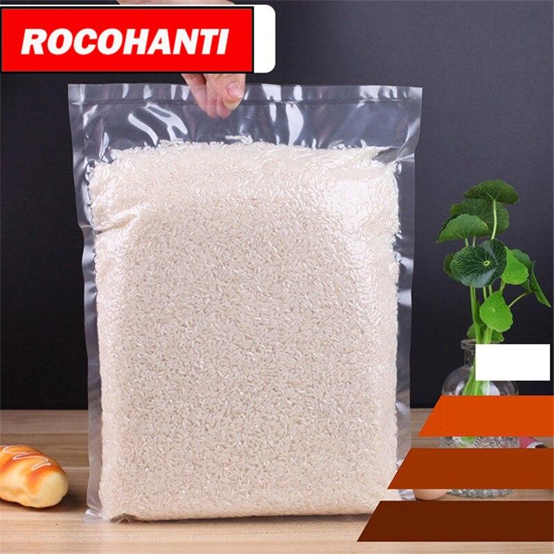 100x Custom Logo transparent food grade vacuum sealer bag for liquid / beverage rice packing bag