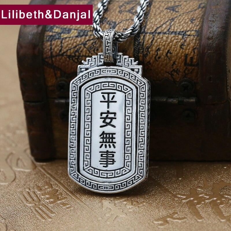 Bouddha pendentif 100% réel 925 bijoux en argent Sterling pour hommes femmes lettre chanceux paix carte collier pendentif 2018 nouveauté P66