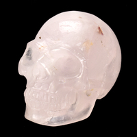 2''Natural Rose Quartz Skull Statue Crystal Mineral Stone Skull Figurine Carved Bone Feng Shui Healing Realistic Art Collection