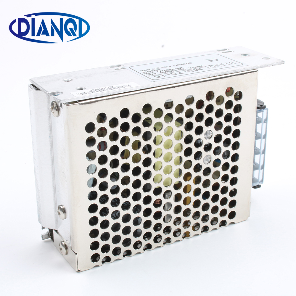 DIANQI power supply 75W 15v 5a mini size ac dc converter power supply unit ms-75-15 15v variable dc voltage regulator image