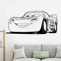Lightning Mcqueen Cars Wall Decal Wall Art Wall Stickers Kids Room Decor Cute Stickers Vinyl Decal Gift Decoration W731