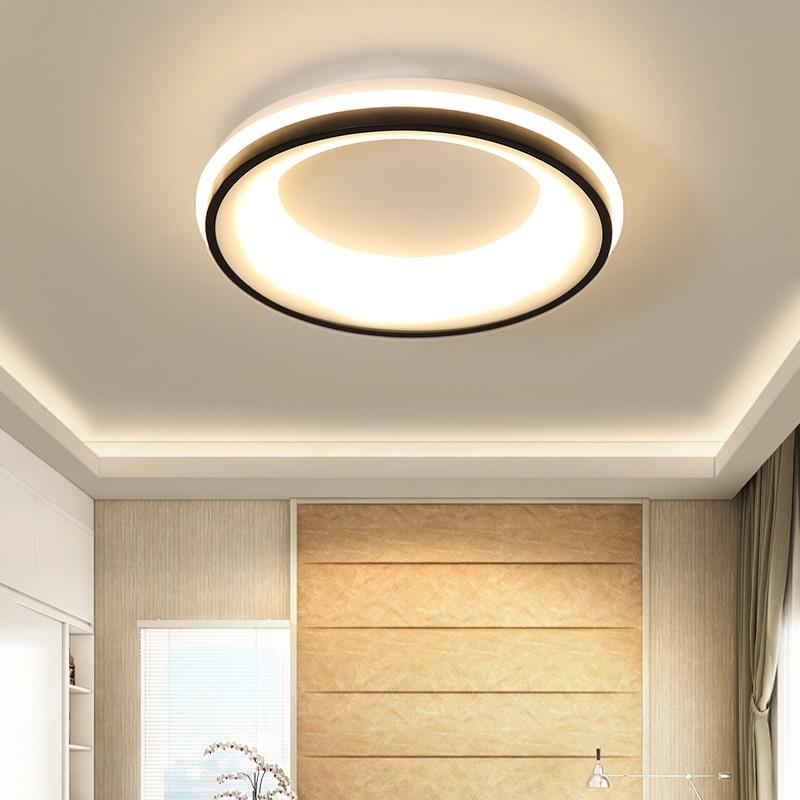 Black+White Finished Modern Led Chandelier For Bedroom Study Room Living Room Square/Round Ceiling Chandelier Fixtures