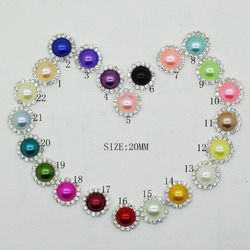 ZMASEY Crystal Pearl Buttons 20mm 10Pcs/Lot rhinestones Button Sewing Mix Color Handwork Decor Ribbon hair Accessory