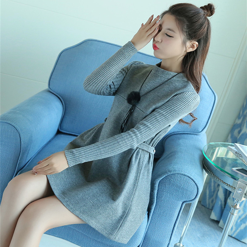 Breastfeeding Dress Autumn Maternity Dresses Pregnancy Clothes Knitted Long Sleeve Slim Waist Grey Dresses For Pregnant Women autumn winter women knitted dresses new fashion sheath bodycon pencil dress long sleeve sexy v neck solid slim knee length dress