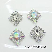 Lkeran 5 pces/35*40mm metal diamante fivela botões de liga acrílico strass botões para roupas artesanato costura acessórios