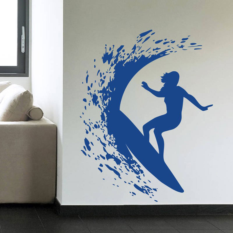 Extreme Sports Series Wall Decals Surfer Girl Surfing On The Sea With Surf Board Cool Wall Sticker Murals Home Cool Decor 3YD33-in Wall Stickers from Home & Garden