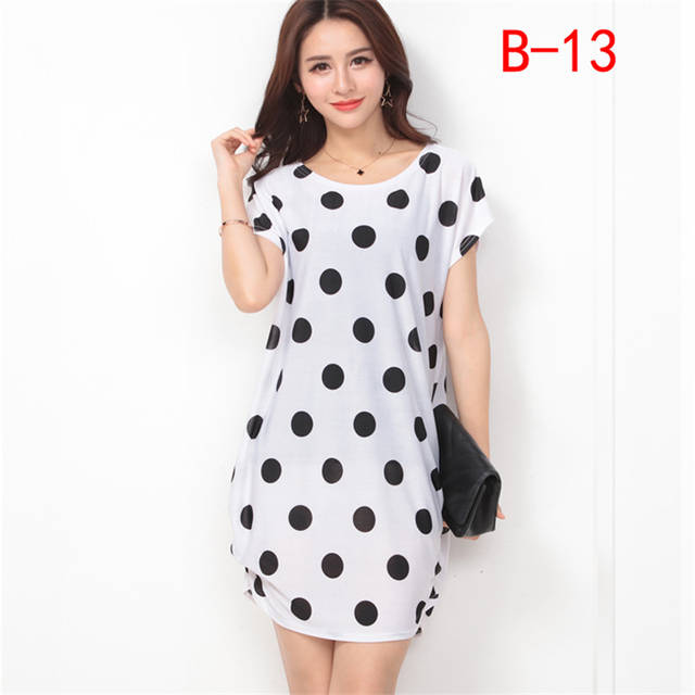 Arthsdite Fashion Ice Silk Dress Summer Big Size Casual Loose Floral Dot Print  Beach Dresses Plus 709af21ec181