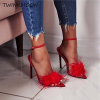 Sexy Red Fur Feather Heels Sandals Women Summer Shoes Pointed Open Toe Ankle Strap Sandals Women New Fashion 2019
