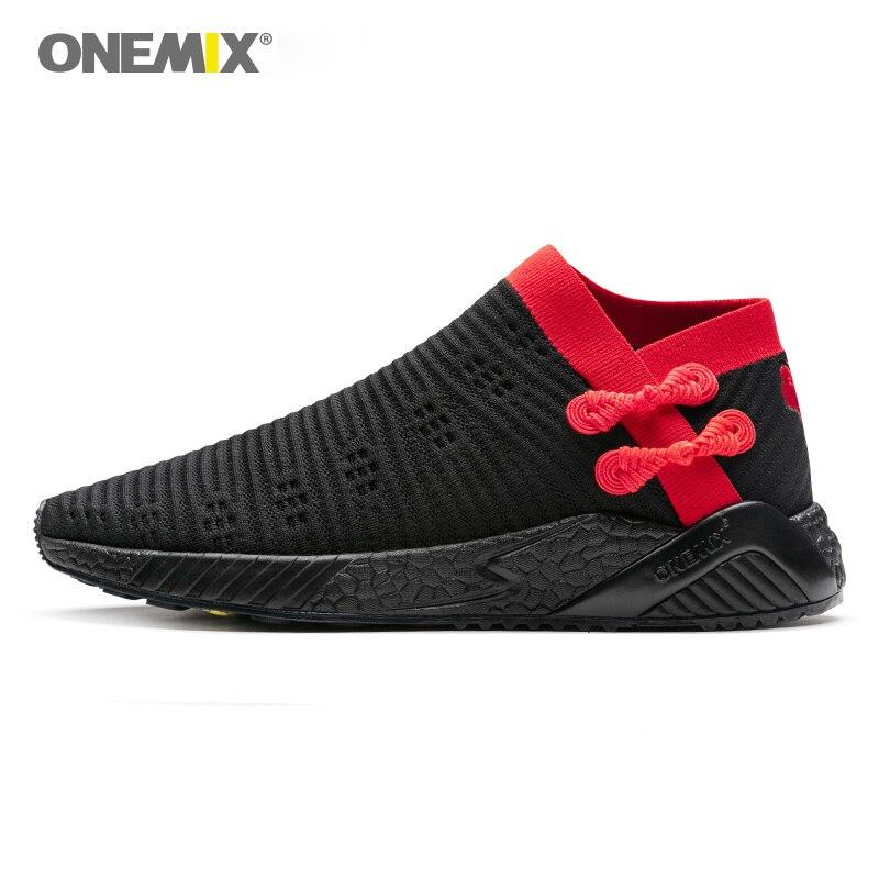 ONEMIX носки беговые кроссовки для мужчин легкие крутые дышащие кроссовки трикотажные вамп Прочная резиновая подошва носки-lik кроссовки