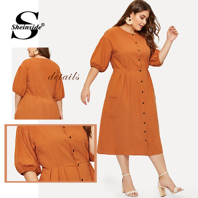 Sheinside Plus Size Orange Pocket Button Front Shirt Dress Women Half Sleeve Bodycon Summer Dresses 2019 Casual Solid Midi Dress 5