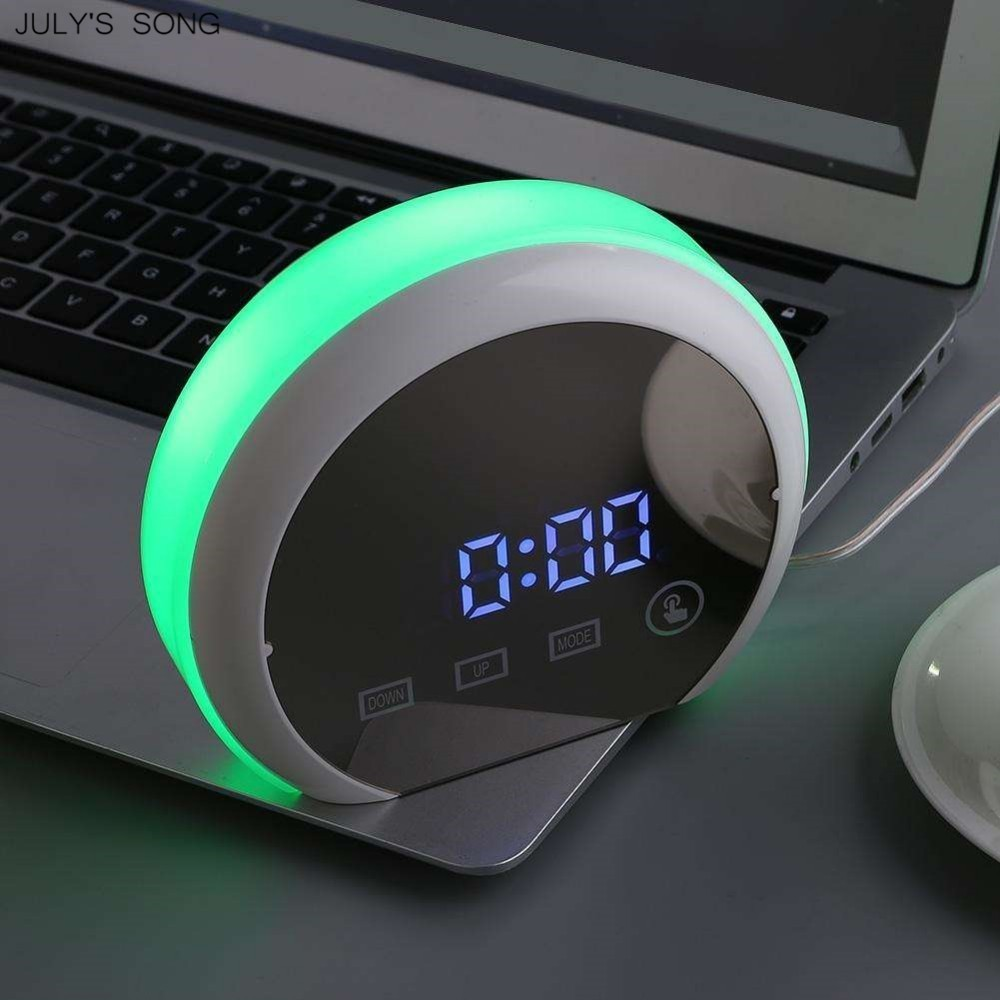 July's Music Contact Management Alarm Clock Snooze Mirror Led Digital Clocks With Temperature Digital Desk Clock Watch Despertador