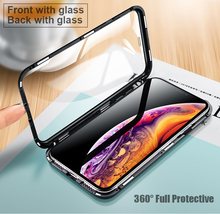 EGEEDIGI 360 Degree Full Magnetic Case For iPhone X XS Max XR 8 7 Plus Cover Front Back Glass 10 Magnet