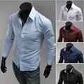 2016 Hot men's business shirt wild Slim casual men's fashion shirt long sleeve shirt colored size M - XXXL