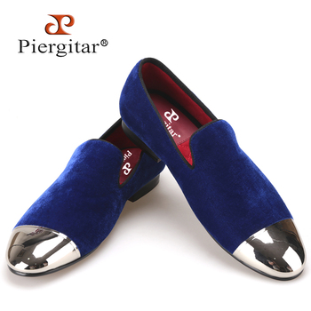 Piergitar black and blue velvet men shoes with gold and sliver toe metal Fashion Prom and banquet men loafers handmade male flat