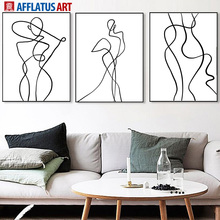 Girl Line Body Art Wall Canvas Painting Abstract Nordic Posters And Prints Black White Pictures For Living Room Decor