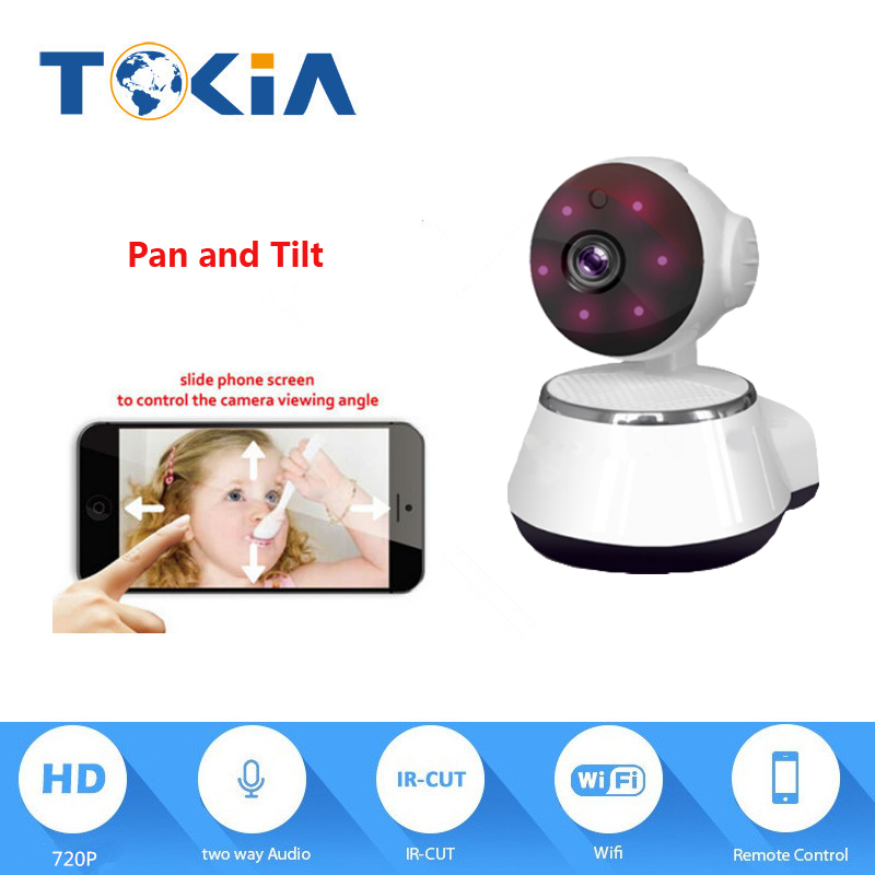 Pan / Tilt Wireless IP Camera Wifi 720P HD CCTV For Home P2P Security Surveillance Two-Way Audio 128GB SD Card Mobile APP escam hd 720p wireless ip camera wifi pan tilt two way audio p2p ir cut night vision onvif cloud home security camera sd card