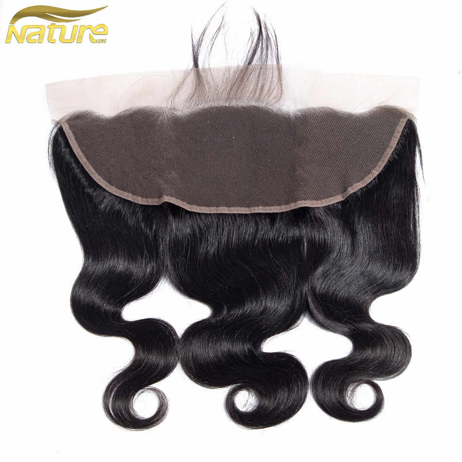 NatureHERE 13*4 Lace Frontal Closure With Baby Hair Peruvian Non Remy Body Wave Hair 100% Human Hair Free Part Lace Closure