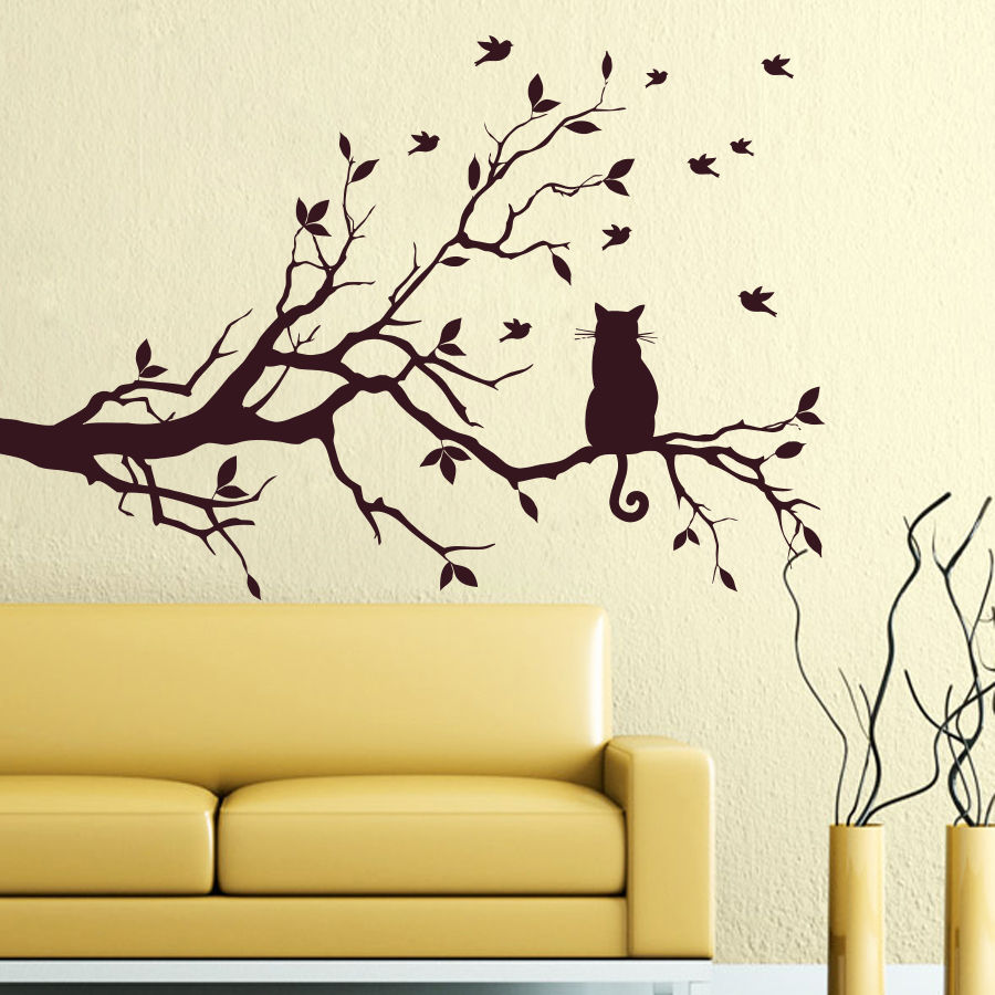 YOYOYU Vinyl Wall Decal Tree Alone Cat Animal Art Bedroom Simple Sad Many Birds Stikers For Wall Decoration FD005 in Wall Stickers from Home Garden