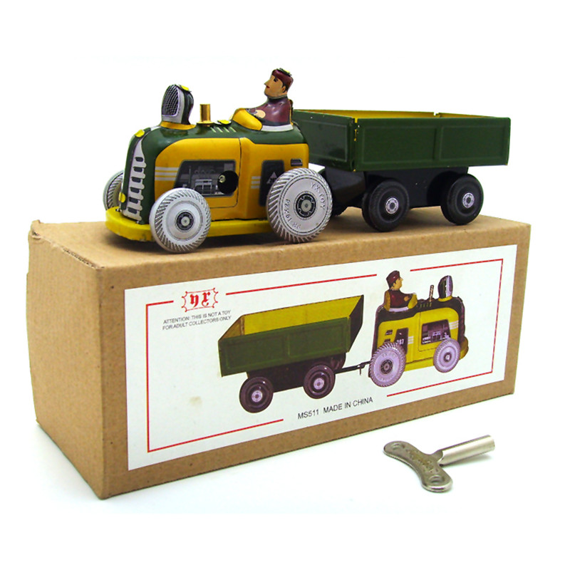 все цены на Classic Vintage Clockwork Tractor Nostalgic Wind Up Children Kids Tin Toys With Key Fun Toys Gift For Children
