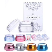 BORN PRETTY Nail Scraper Rose Gold Stamper Chess Clear Jelly Silicone Head Nail Stamper with Cap and  Manicure Stamping Set