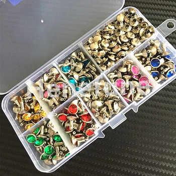 240pcs 8colors Punk Diamond Spikes Rivets/Rhinestone Studs Decor Rivets for Leather/Belt/Handbag Double-sided Rivet DIY +Tools