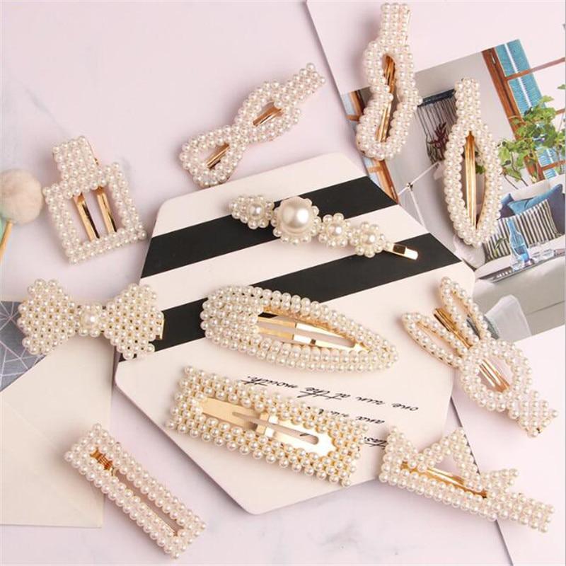 Women Pearl Hair Clip Beaded Geometric Korea Barrettes Hairgrips Hair Accessories Girls Jewelry Fashion Hair Pins   headwear