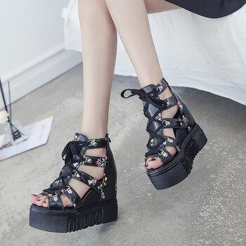 Blumendruckkeile   2019 Sommer Phantasie Plattform Damen Sandalen Peep Toe Keil High Heels 12 Cm Zunehmende Druck Frauen Schuhe Sandalia Feminina
