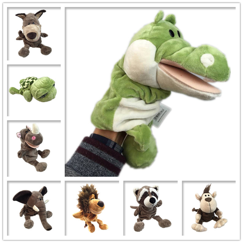 Hand Puppets Mouth Jungle Animals Move Body Ventriloquism Doll Story Doll Plush Toy Baby Gift Ideas Finger Puppets Free Shipping