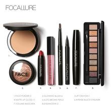 FOCALLURE 8Pcs Cosmetics Makeup Set Powder Eye Makeup Eyebrow Pencil Volume Mascara Sexy Lipstick Blusher Tool Kit for Daily Use
