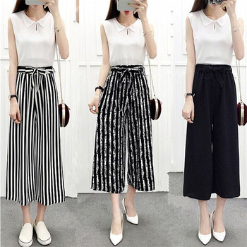 2020 Fashionable Wide Leg High Waist Pants 1