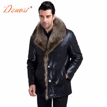 2017-18 Brand new men's leather jackets fashion black luxury raccoon fur lined coat male clothing real fur oversize men fur coat(China)