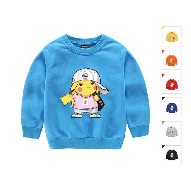 Hot Marca de Moda Outono Crianças Top Bonito Pokemon Pikachu Crianças T Camisa Do Bebê Criança Meninos Roupas de Algodão de Manga Longa T camisas