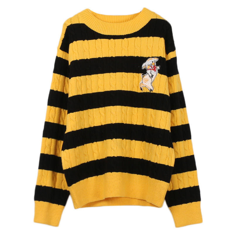 Makuluya Women Yellow Black Stripe Pig Embroidered Twist weaving Knitted Crewneck Casual High Street Pullover Sweaters Tops QW