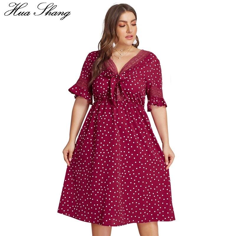Женское летнее платье в красный горошек, платье миди с v образным вырезом и бантом, Пляжная туника большого размера, 2019 Платья      АлиЭкспресс