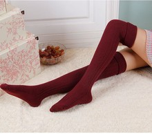 2 Pairs Cotton Knitted Lengthen stockings cable stitch thigh highs over the knee Winter Autumn Warm